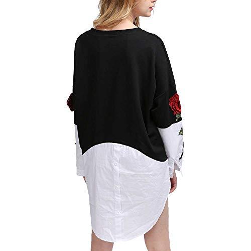 YKARITIANNA 2018 Women's O-Neck Autumn and Winter Long Sleeve Stitching Embroidered Shirt ()