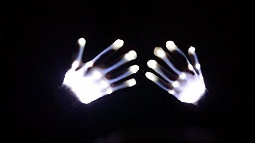 (White Snow Electro LED Rave Raver Dance Gloves Rave Party Flash Finger EDC)