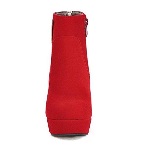 RAZAMAZA Women Fashion Bootie Side Zipper Red qqAzos