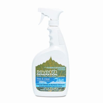 Seventh Generation Products - Glass/Surface Cleaner, Biodegradable, 32 oz. Free/Clear Scent - Sold as 1 EA - Natural Glass Cleaner in spray bottle is excellent for effectively cleaning glass, mirrors, chrome and other hard surfaces around your home streak-free. Nontoxic, biodegradable formula is free of chlorine, acids, caustics, petroleum-based ingredients and dyes, glycol ethers and harsh fumes. Kosher-certified glass cleaner is not tested on animals.