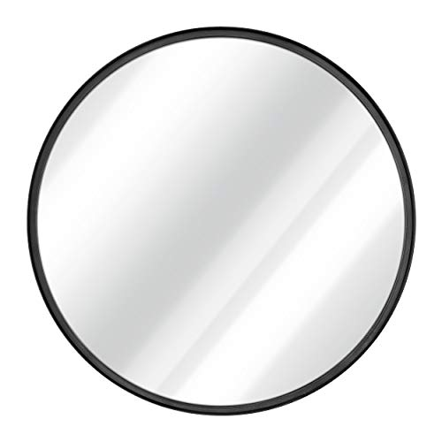 Black Round Wall Mirror - 27.5 Inch Large Round Mirror, Rustic Accent -