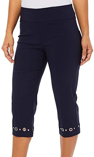 Zac & Rachel Plus Grommet Hem Pull On Capris 18W Navy for sale  Delivered anywhere in USA