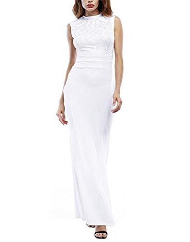Long Dress White Floor Coolred Length Printed Sleeveless Maxi Women's Flroal a8qxn0zwUZ