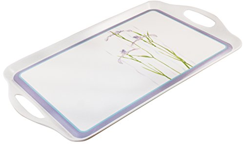 Corelle Coordinates by Reston Lloyd Melamine Rectangular Serving Tray with Handles, Shadow Iris