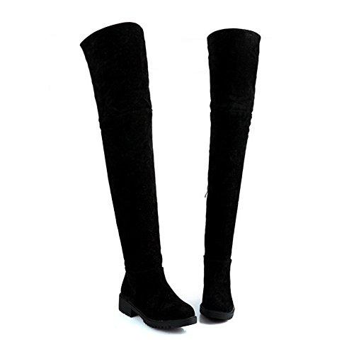 AgooLar Women's High-top Solid Zipper Round Closed Toe Low-Heels Boots Black MxZv1nrBr