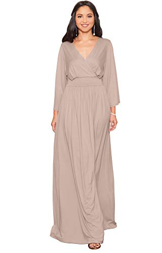 KOH KOH Womens Long Kimono Sleeve V-Neck Wrap Belted Empire Flowy Maxi Dress