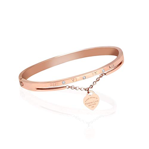 Designer Inspired Titanium Steel Roman Numeral Forever Love Cuff Bracelet with Swarovski Crystals (Rose Gold) (Best Quality Tiffany Replica Jewelry)