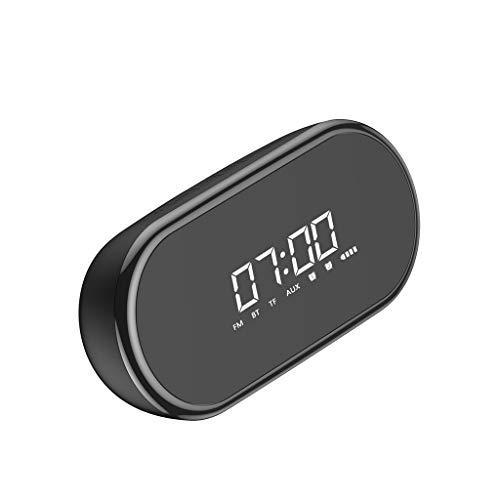 JinJin Alarm Clock Radio Bluetooth Speaker with Digital FM Stereo, Dimmable LED Display Bluetooth Speaker Alarm Clock Multi-function Bluetooth Speaker Desktop Bedside Bass Stereo FM/TF (Black) ()