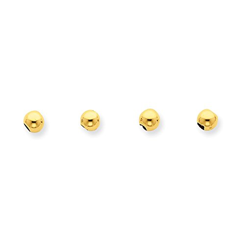 14k Yellow Gold Set of 4, 4mm Spacer Beads For Charm Separation ()