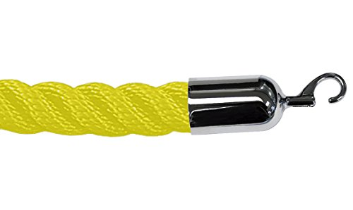 Lawrence metal ROPE-TWST-35-050-2-HOOK-1P Twisted Plastic Rope, 5', Yellow
