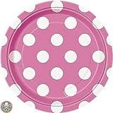 piatti di carta pois rosa,piatti in carta per feste,24 piatti,24 bicchieri