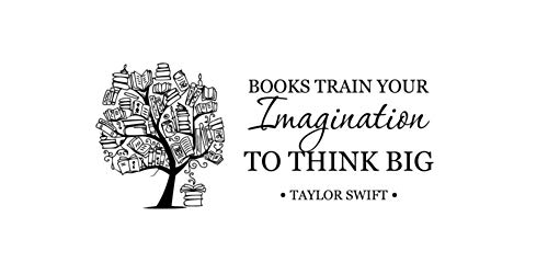 Andreadesigns Books Train Your Imagination Quote Wall Decal Education Inspirational Words Print Poster Art Book Tree Vinyl Sticker Home Office School Classroom Library Decor 14asl