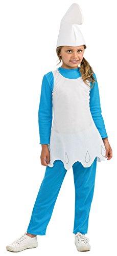 Girls Smurfette Kids Child Fancy Dress Party Halloween Costume, L (Smurfette Costume Girl)
