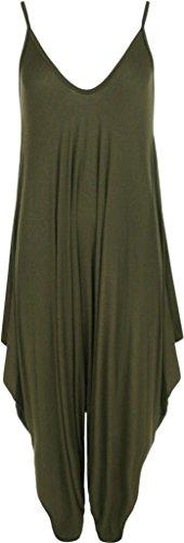 Lagenlook Verte Dress Femmes Olive Mesdames XXL 44 42 XL 36 38 50 Baggy 52 46 Top 48 manches XXXL Romper Jumpsuit 54 40 Taille sans plaine Playsuit Harem Cami Strapy qzwCaqOrB