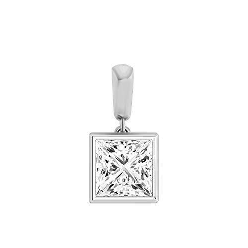 (OMEGA JEWELLERY 6.5 MM Princess-Shape Bezel Set Solitaire Diamond Pendant in 14K Solid Gold (White-Gold))