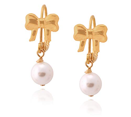 Surgical Steel White Swarovski Pearl Earrings - Enamel Bow Earrings Hypoallergenic Colors Available