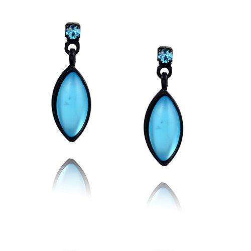 Czech Leaf Light - Kristina Collection Leaf Drop Stud Earrings, Blue Czech Glass on Black Memory Wire