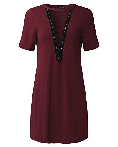StyleDome - Camisas - camisa - Manga Larga - para mujer rojo vino