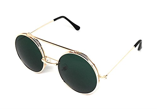 WebDeals - Round Flip Up Steampunk Metal Django Sunglasses (Gold, Green)