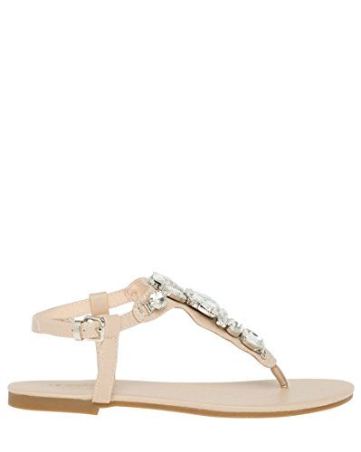 Jewel Thong (LE CHÂTEAU Women's Jewel Embellished Thong Sandal,7,Nude)
