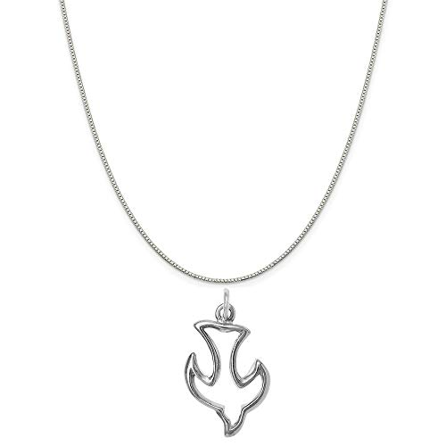 Sterling Silver Dove Charm - Raposa Elegance Sterling Silver Dove Outline Charm on a Sterling Silver 20