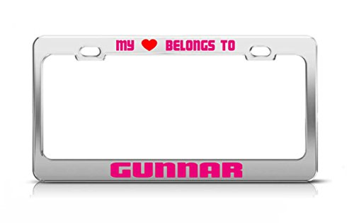 MY HEART BELONGS TO GUNNAR Male Boy Names License Plate Frame Metal - Gunnar Frame