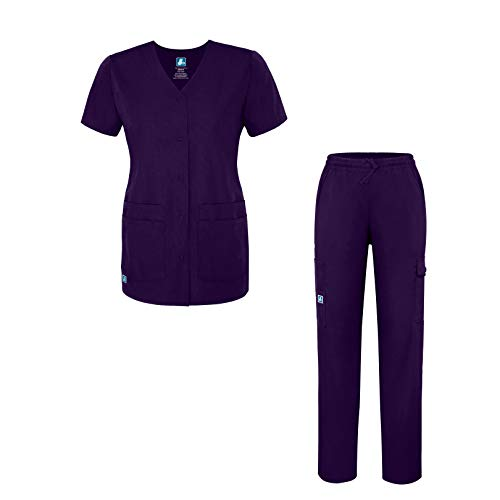 Adar Universal Women's Scrub Set - Snap Front Scrub Top and Multi Pocket Scrub Pants - 906 - PRP - M Purple