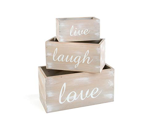 OHIO WHOLESALE, INC. Live Laugh Love Whitewashed 10 x 5 Solid Wood Decorative Boxes Set of 3