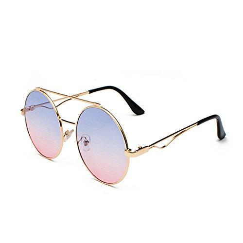 color Y mm 60 Gafas redondas Hombres Rosado y lente Yefree plana delgado Metal mujeres Azul Marco a 7HR8Wxqw6