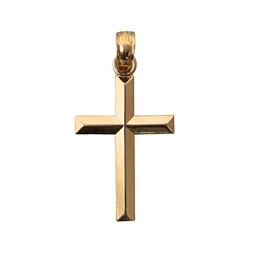 - LooptyHoops Medium 14K Yellow Gold Classic and Traditional Beveled Cross Charm Pendant 20mm x 11mm