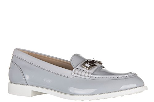 Tod's Damen Leder Mokassins Slipper Gummi vk traversina macro clamp Grau