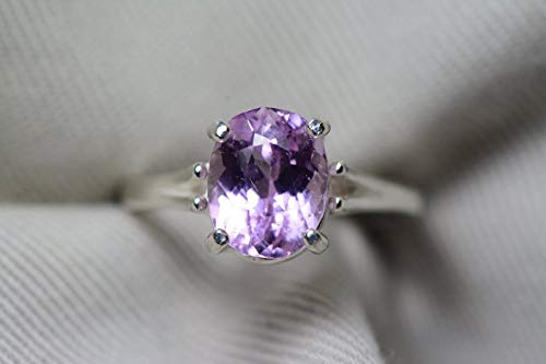Kunzite Ring, Certified 3.41 Carat Pink Kunzite Solitaire, Sterling Silver, Real Genuine Natural Jewelry, Oval Cut, Appraised 400.00 ()