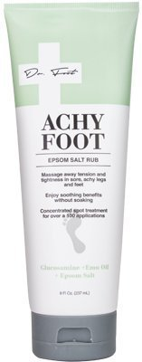 (Dr. Foot Achy Foot Epsom Salt Rub for tension, sore, achy legs and feet. With Emu oil and Glucosamine 8oz)