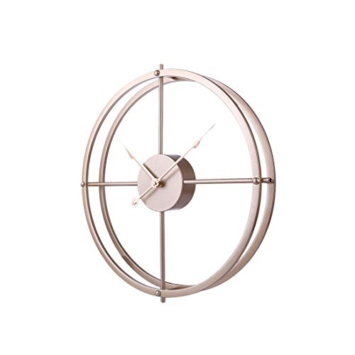 RuiyiF 16 Inch Silent Wall Clock Non Ticking, Metal Vintage Unique Wall Clocks Large Decorative for Kitchen Living Room Office Gold, 16 Inch