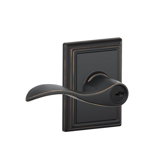 Addison Collection Accent Keyed Entry Lever (Aged Bronze) F51 ACC 716 (Bronze Addison Button)