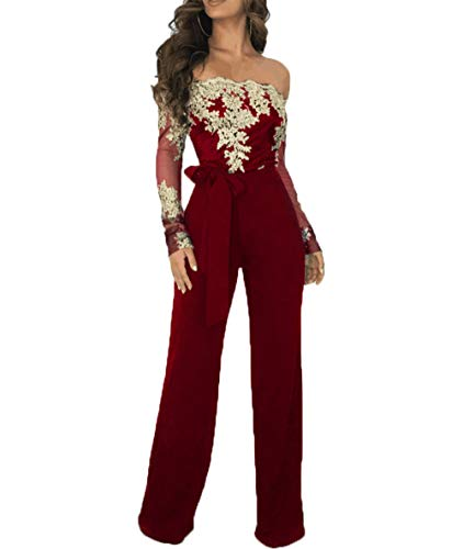 Salimdy Women Sexy Off Shoulder Floral Lace Long Sleeve Bodycon Wide Leg Jumpsuits Rompers with Belt Wine Red Gold L ()