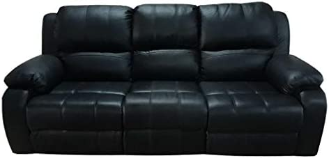 3 Seater Recliner Sofa, Black Leather: Buy Online at Best ...