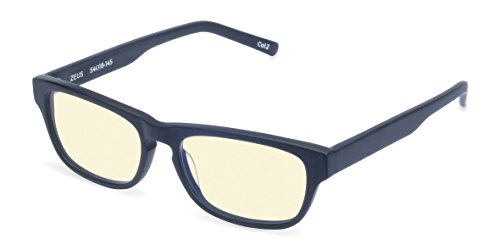 Reading Glasses - ZEUS Blue Light Blocking Computer and Gamer Glasses for Men and Women with Acetate Frames, CR39 lenses - FDA and CE Approved - Magnification Strength 0 to - Magnification Glasses Zero