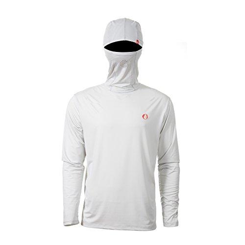 - American Outdoorsman Long Sleeve Hooded Tee (Medium, Fog Grey)