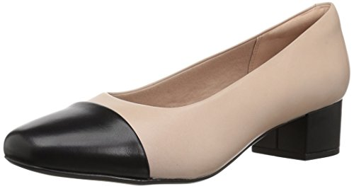 060 Square - CLARKS Women's Chartli Diva Pump, Nude Pink/Black Leather Combo, 060 M US