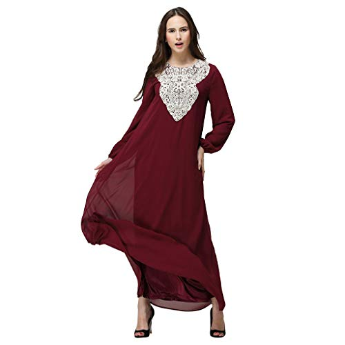 Womens Chiffon Kaftan Muslim Dress, Islamic Abaya Maxi Dresses Floral Casual Long Party Wedding Cocktail Evening Gown Red (Dubai Dress)