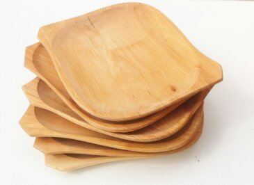 Wooden plate set of six  10u0026quot;x 8 u0026quot; plates  serving tray & Wooden plate set of six  10