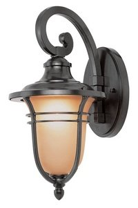 Bronze Finished Wall Lantern (Trans Globe Lighting 5700 ROB Outdoor Wall Light with Amber Glass Shade, Rubbed Oil Bronze)
