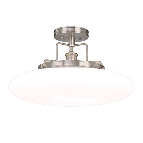 Hudson Valley Lighting Beacon 1-Light Semi Flush - Satin Nickel Finish with Opal Mouth-Blown Glossy Glass Shade by Hudson Valley Lighting (Beacon Nickel Satin)