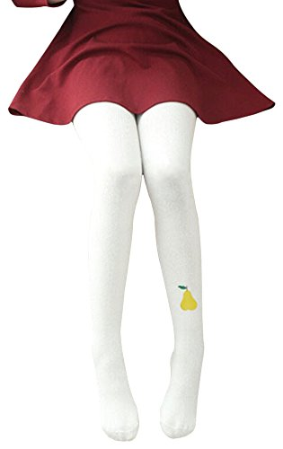 EachWell Lovely Little Gilrs Fruit Cotton Stretch Knit Leggings Tight Pants White Pear(5-7 Year) (Snow White Outfit Ideas)