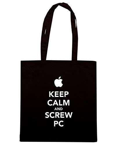 Speed Shirt Borsa Shopper Nera TKC0242 KEEP CALM AND SCREW PC