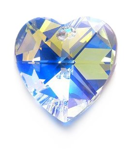 Swarovski 6228 Top Hole Heart Beads, Aurora Borealis, Crystal, 28mm -