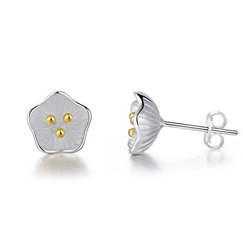 EVERU Flower Stud Earrings Sterling Silver, 4 Styles Options, Rose | Sunflower | Daisy | Lotus (Lotus)