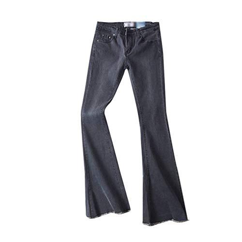 Delgado Vaqueros Schwarz Ocio Con Alta Botón Pantalones Sólido Del De Acampanados Bolsillos Las Mujeres Cintura Estiramiento Color Stretch Mezclilla CUOd4qw