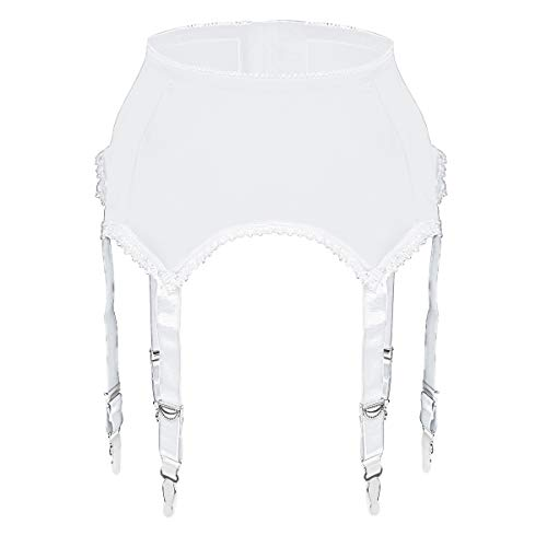 Slocyclub Women Stretchy Garter Belt with 6 Straps for Thigh High Stockings White ()